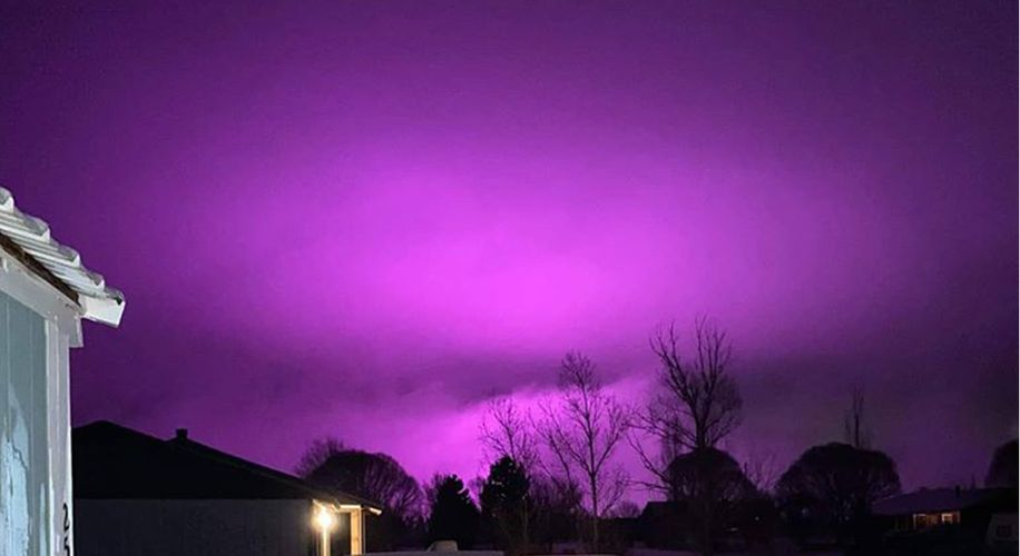 Pot Farm Grow Lights Turn Arizona Sky a Glowing Purple After Snowstorm