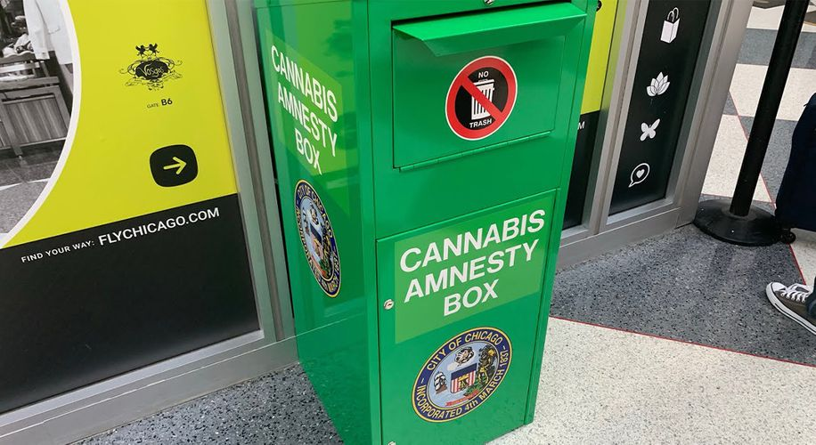 The Weed Amnesty Boxes at Chicago Airports Received a Green Makeover