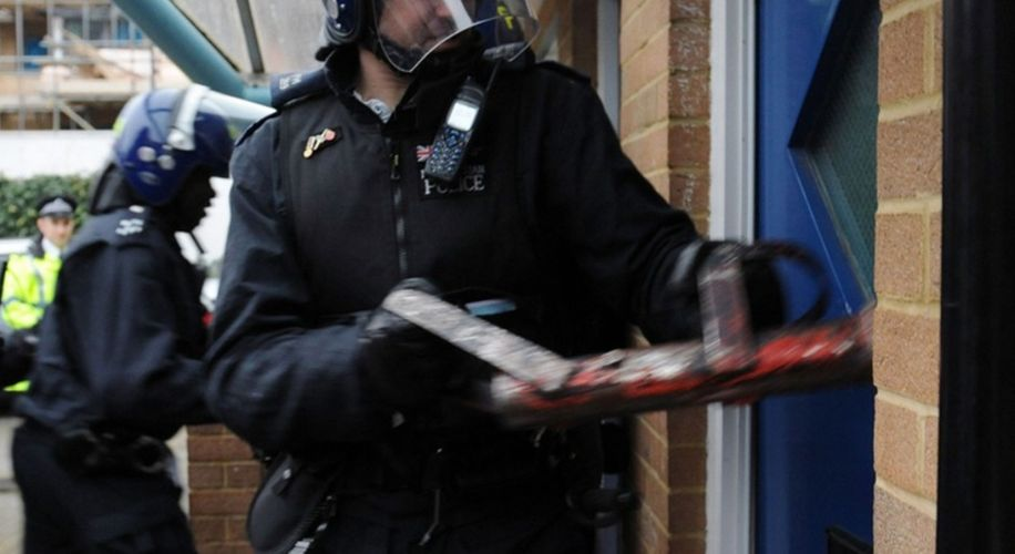 UK Cops Saw Down the Front Door of a House to Bust Someone for Half a Joint